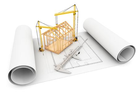 vernier caliper: Frame House with Caliper and Hoisting Crane over Architect Blueprint on a white background