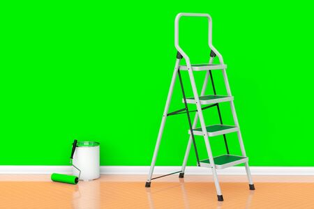 paint can: Painting of walls in a green color. Paint can with roller brush and Ladder