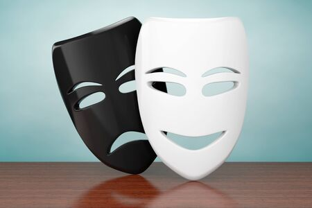 disappointment: Old Style Photo. Tragicomic Theater Sad and Smile Masks on the table