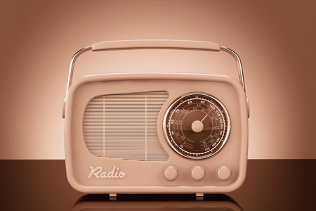 radio communication: Old Style Photo. Vintage Radio on table front wall background