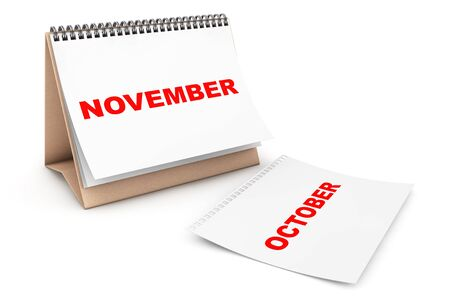 autum: Folding Calendar with November month page on a white background Stock Photo