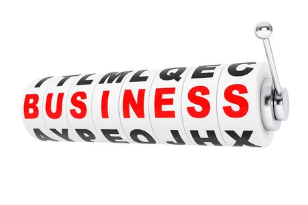 adapting: Business Signs lines up for a jackpot on a Slot machine wheels on a white background