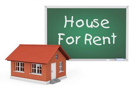 choise: 3d House with House For Rent Sign Blackboard on a white background