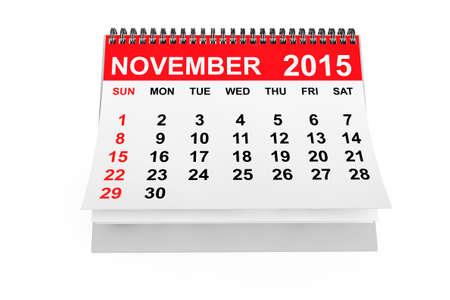 calendario noviembre: 2015 año calendario. Calendario noviembre sobre un fondo blanco