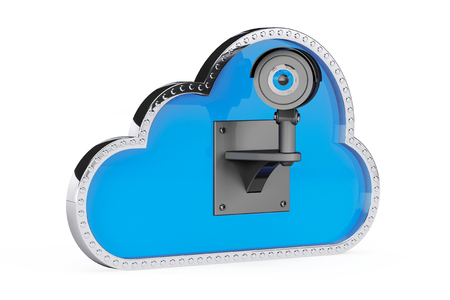 cloud network: Internet Security Concept. 3d Cloud with Security Camera on a white background Stock Photo