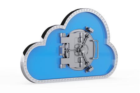 インターネットのセキュリティの概念。白い背景の上の安全なドアと 3 d 雲 写真素材