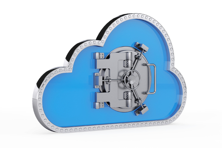 Internet Security Concept. 3d Cloud with Safe Door on a white background 스톡 콘텐츠