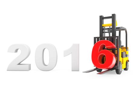 carretillas almacen: Carretilla elevadora con 2016 a�o nuevo signo sobre un fondo blanco