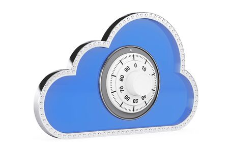 semantic: Internet Security Concept. 3d Cloud with Padlock on a white background