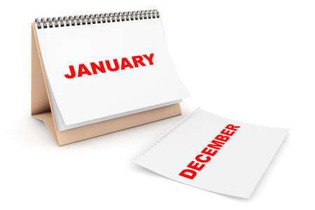 background calendar: Folding Calendar with January month page on a white background