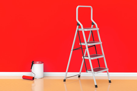 ladder: Painting of walls in a red color. Paint can with roller brush and Ladder