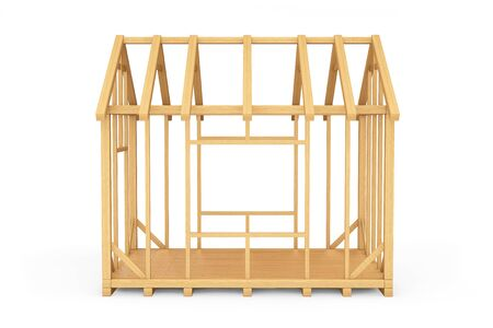 unfinished: Wooden Home Construction on a white background