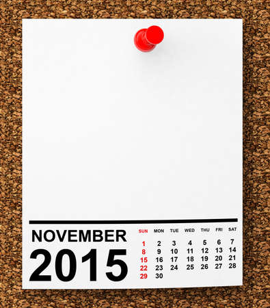 Calendar November 2015 on blank note paper with free space for your text