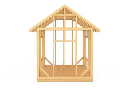 construction maison: Wooden Home Construction on a white background