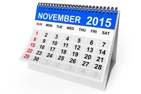 calendario noviembre: 2015 a�o calendario. Calendario noviembre sobre un fondo blanco