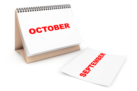Folding Calendar with October month page on a white background