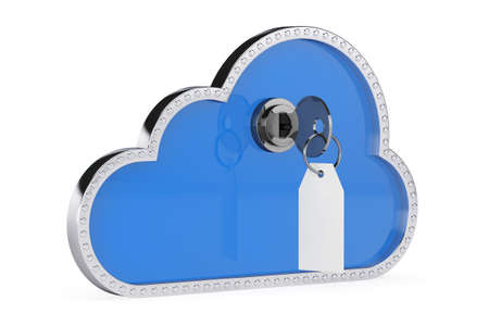 semantic: Internet Security Concept. 3d Cloud with Key and Lock on a white background