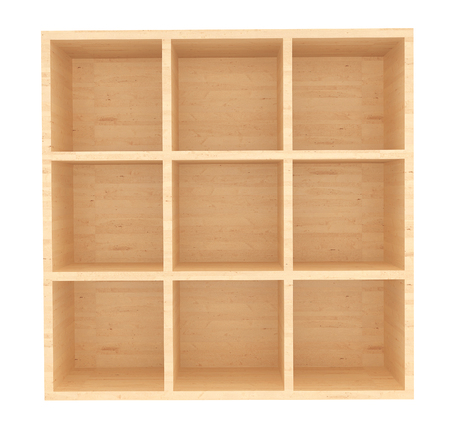 retail: Empty Wooden Retail Shelves on a white background Stock Photo