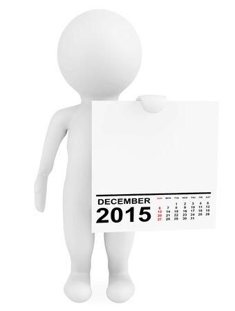 calendario diciembre: Carácter que sostiene calendario diciembre 2015 sobre un fondo blanco Foto de archivo