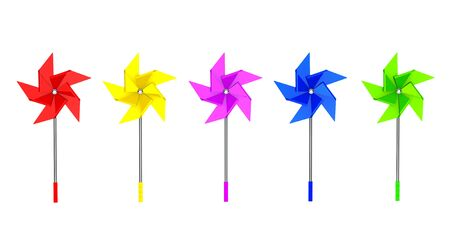 pinwheel toy: Multicolored Toy Pinwheel Windmill on a white background
