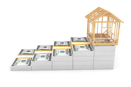 constraction: Real Estate Business Concept. House Frame over Money Stack on a white background