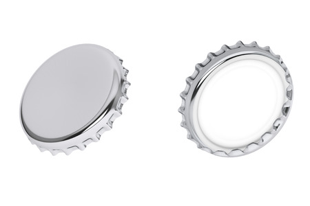twist cap: Silver Bottle Caps on a white background