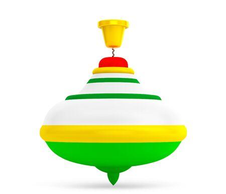 perinola: Rayado Perinola juguete en un fondo blanco