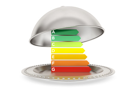 Energy Efficiency Rating in Silver Restaurant cloche on a white background Banco de Imagens