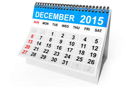 december calendar: 2015 year calendar. December calendar on a white background