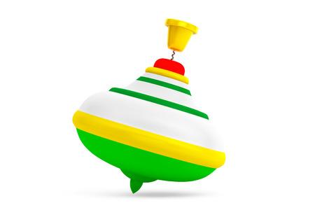 molinete: Rayado Perinola juguete en un fondo blanco