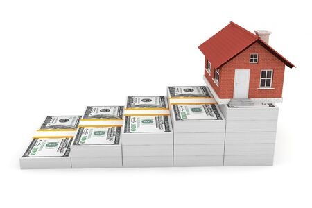 money exchange: Real Estate Business Concept. House over Money Stack on a white background