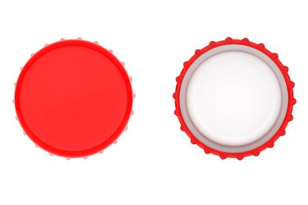 twist cap: Red Bottle Caps on a white background