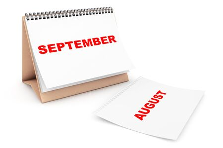 calendar page: Folding Calendar with September month page on a white background