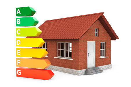ecological problem: Energy Efficiency Rating Charts with House on a white background Stock Photo