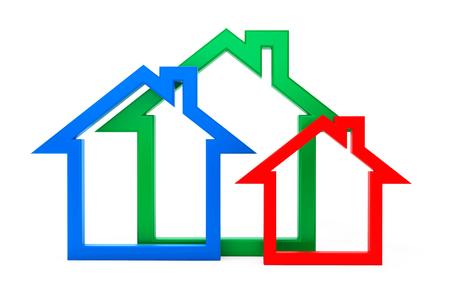 eficiencia energetica: Eficiencia energética Iconos de la casa sobre un fondo blanco