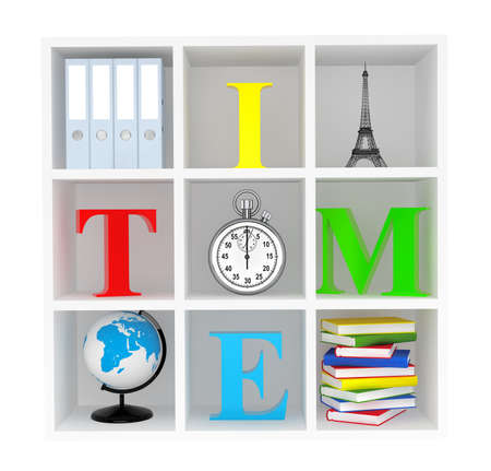 book store: Bookshelf with Stopwatch, Books, Globe, Office Binders and Eiffel Tower on a white background