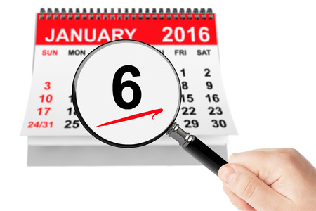 epiphany: Epiphany Day Concept. 6 January 2016 calendar with magnifier on a white background Stock Photo