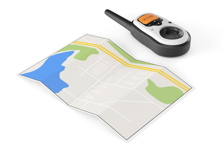 walkie talkie: Two Walkie Talkie Radio with Map on a white background