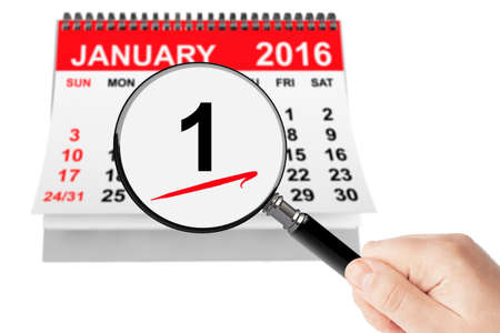 new years day: New Years Day Concept. 1 January 2016 calendar with magnifier on a white background