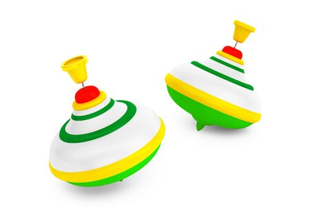 spinning: Striped Whirligig Toys on a white background