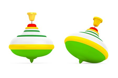 molinete: Rayas Perinola juguetes sobre un fondo blanco