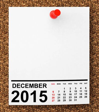 Calendar December 2015 on blank note paper with free space for your text