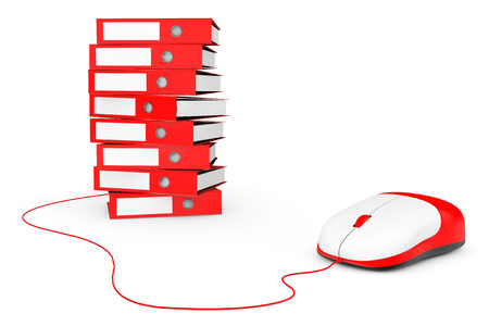 office supply: Computer Mouse with Stack of Red Achive Office Binders on a white background