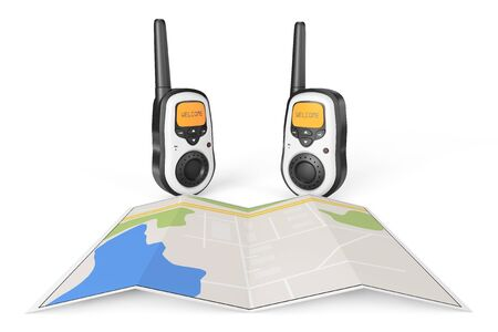 cb phone: Two Walkie Talkie Radio with Map on a white background