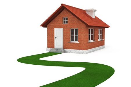 Grass Road to house on a white background