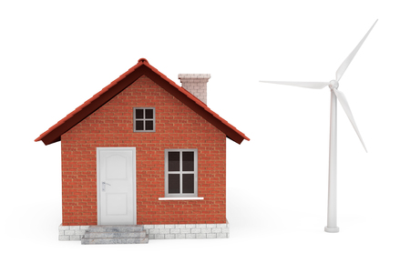 produce energy: Windmill produce green energy for house on a white background