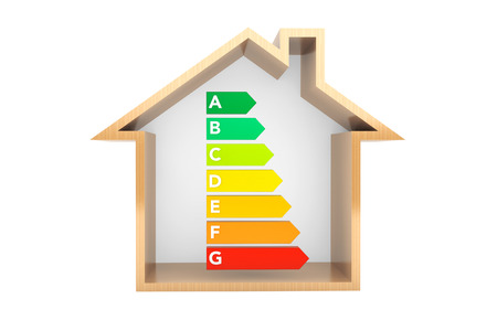 eficiencia: Eficiencia Energética Gráficas de Calificación con la casa en un fondo blanco Foto de archivo