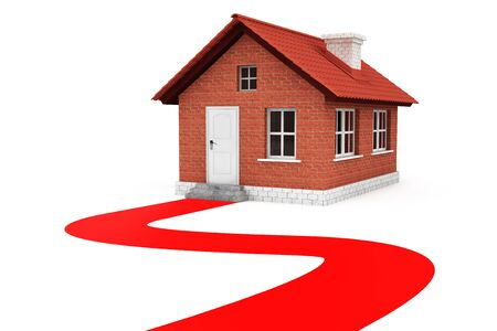Red Road to house on a white background