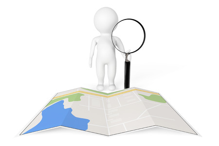 optical people person planet: 3d Person with Magnifying Glass near City Map on a white background