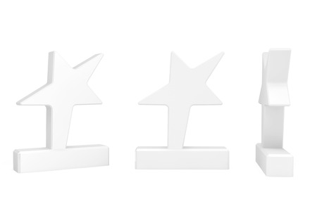 star award: White Star Award Trophys on a white background